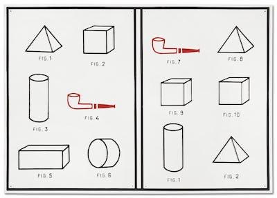 Marcel Broodthaers, Livre tableau ou Pipes et formes académiques, 1970 © Succession Marcel Broodthaers – Sabam 2021