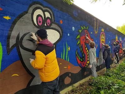 Buitenspeeldag graffiti workshop