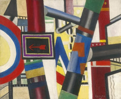 """Fernand LEGER (1881-1955), """"The Railway Crossing (Sketch)"""", (1919), Oil on canvas 54,1 x 65,7 cm — © 2021. The Art Institute of Chicago / Art Resource, NY/ Scala, Florence"""