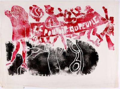 Jacqueline de Jong, Le pouvoir au peuple, 1968. Linocut on paper, 60 × 78 cm, Edition size unknown. Courtesy of the artist and Pippy Houldsworth Gallery, London. Photo: Gert-Jan van Rooij.