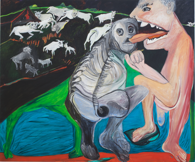 Jacqueline de Jong, The Ultimate Kiss, 2002-2012. Oil on canvas, 150 x 180 cm. Courtesy the artist and Château Shatto, Los Angeles.