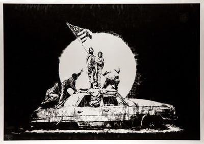 DEODATO ART Banksy - Silver Flag serigrafia carta - 57x76 cm