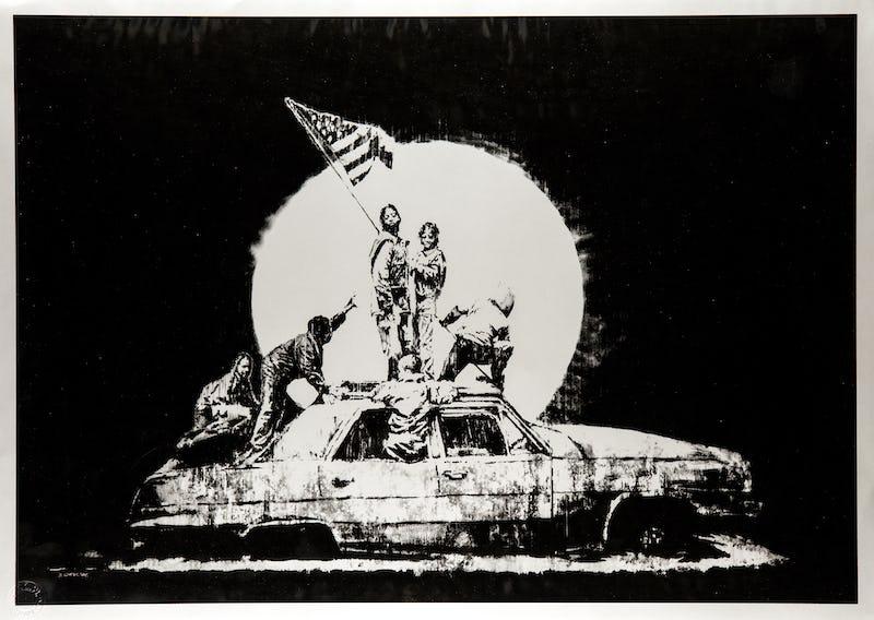 BANKSY - 'The Brussels Show' DEODATO ART Banksy - Silver Flag serigrafia carta - 57x76 cm