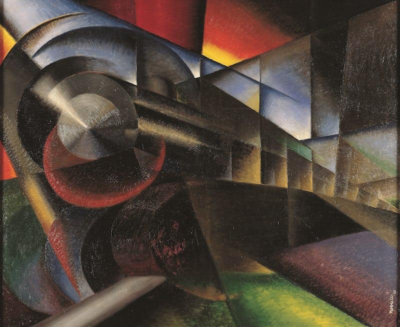 Tracks to Modernity (Europalia 2021) Ivo Pannaggi, (1901– 1981), Speeding Train, Oil on canvas, 1922  Fondazione Cassa Di Risparmio Della Provincia Di Macerata - Museo Palazzo Ricci  inv. X.2011.903