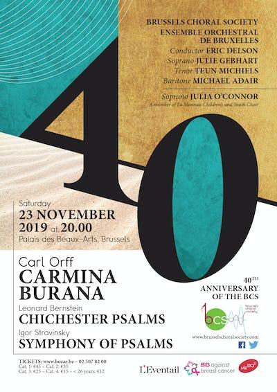 Carl Orff, Carmina Burana; Leonard Bernstein, Chichester Psalms; Igor Stravinsky, Symphony of Psalms