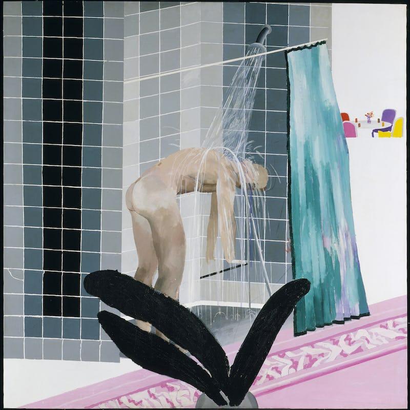 David Hockney : oeuvres de la collection de la Tate, 1954-2017 David Hockney Man in Shower in Beverly Hills, 1964 Acrylverf op doek, 167,3 x 167 cm Tate: Aankoop 1980 © David Hockney