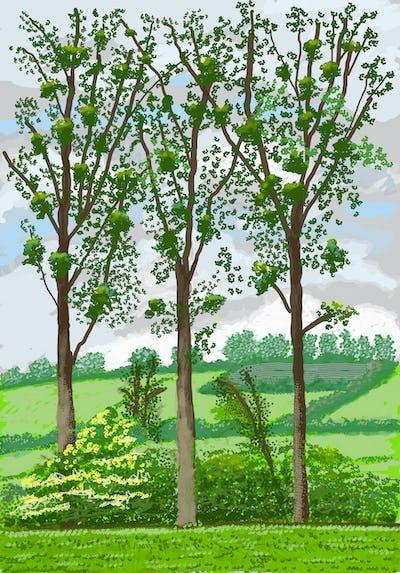 """David Hockney """"No. 299"""", 3rd April 2020 iPad painting © David Hockney"""