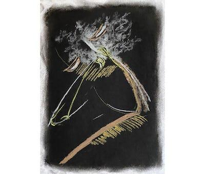 Gabriel Chaile, Untitled, série They talk to me about darkness but I am dazzled, charbon et pastel sur papier, 21 x 15 cm