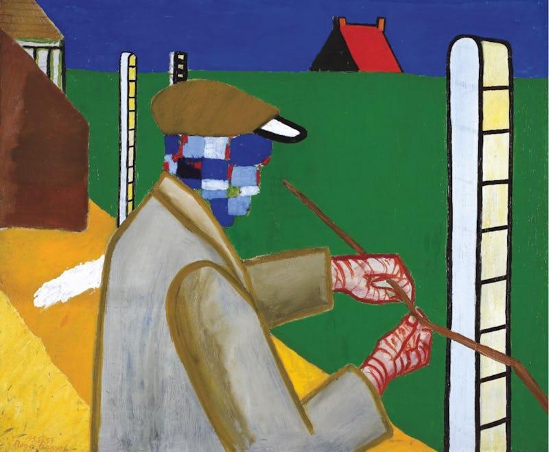 Roger Raveel. Une rétrospective Roger Raveel, Homme avec fil de fer au jardin, 1952-1953, Collection de la Communauté flamande/Musée Roger Raveel