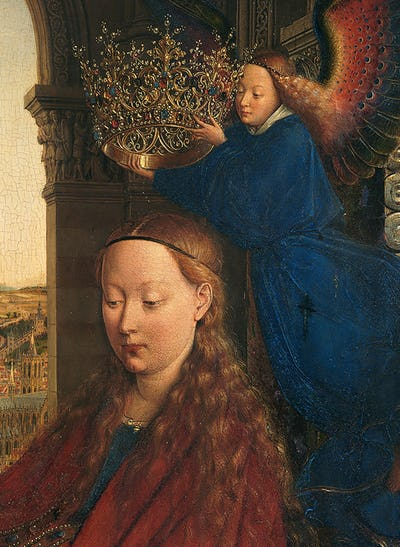 Jan van Eyck, Detail - The Virgin of Chancellor Rolin, c. 1430-34, Musée du Louvre. Foto: KIK-IRPA, Brussels. From http://closertovaneyck.kikirpa.be