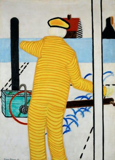 Gele man met karretje, 1952, olie op doek  © Peter Claeys, courtesy of Marleen Raveel de Muer