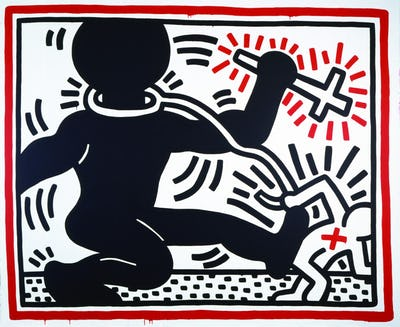 Keith Haring artwork, Untitled (Apartheid), 1984 © Keith Haring Foundation