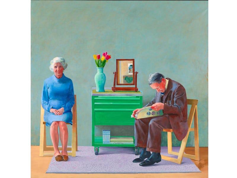 """David Hockney : Œuvres de la collection de la Tate, 1954-2017 'David Hockney """"My Parents"""" 1977 Oil on canvas 72 x 72"""" © David Hockney Collection Tate, U.K."""