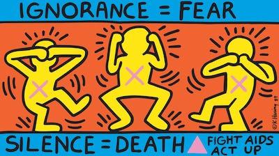 Keith Haring artwork, Ignorance = Fear, 1989 © Keith Haring Foundation  Collection Noirmontartproduction, Paris
