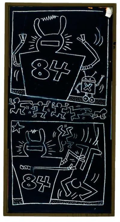 Keith Haring artwork, Untitled (Subway Drawing), 1984 © Keith Haring Foundation