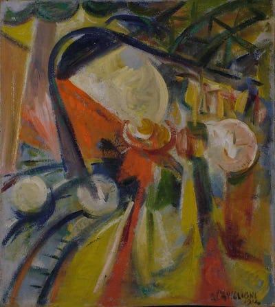 Angelo CAVIGLIONI, Dinamismo di treno, 1914 © Collezioni d'Arte e distoria della Fondazione Cassa di Risparmmio in Bologna